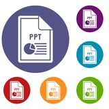 File PPT icons set. In flat circle reb, blue and green color for web Royalty Free Stock Photo