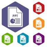 File PPT icons set. Rhombus in different colors isolated on white background Stock Photos