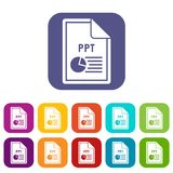 File PPT icons set. Vector illustration in flat style in colors red, blue, green, and other Stock Photos