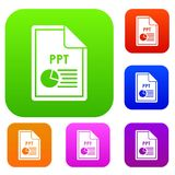 File PPT set collection. File PPT set icon in different colors isolated vector illustration. Premium collection Stock Images