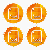 File presentation icon. Download PPT button. Royalty Free Stock Photos