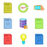 File processing icons set, cartoon style Stock Photo