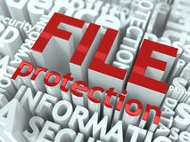 File Protection Concept. Inscription of Red Color Located over Text of White Color Stock Photo