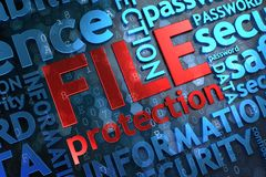 File Protection.  Wordcloud Concept. Stock Image
