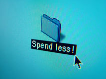 File reading spend less. A file on a blue background that reads spend less Stock Photography