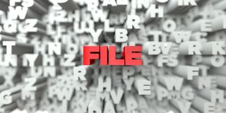 FILE -  Red text on typography background - 3D rendered royalty free stock image. This image can be used for an online website banner ad or a print postcard Royalty Free Stock Image
