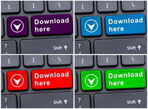File saving location with download here button Stock Images