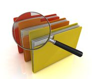 File search concept. Folders and magnifying glass Royalty Free Stock Photos