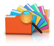 File search concept: folders and magnifying glass Stock Photography