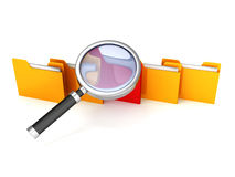 File search concept: folders and magnifying glass. 3d Royalty Free Stock Images