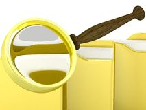 File search concept. Folders and magnifying glass Royalty Free Stock Photography