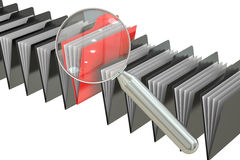 File search concept: folders and magnifying glass, 3D rendering. File search concept: folders and magnifying glass Royalty Free Stock Image