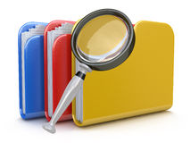 File search concept: folders and magnifying glass. In the design of information related to computer technology Stock Photo