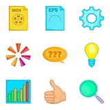 File search icon set, cartoon style Royalty Free Stock Photography
