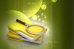 File searching. In color background Royalty Free Stock Photography