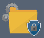 File and security system design. File gears shield and padlock icon. Security system warning and protection theme. Colorful design. Vector illustration Royalty Free Stock Photo