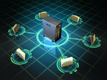 File server. File folders connected to a desktop server. Digital illustration Royalty Free Stock Photos