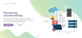 File sharing and data backup. Shared data, documents, videos and photos. Internet computer users download files safely. Template in flat design for web banner royalty free illustration