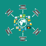 File sharing. File transfer. Network. Distributed content. Cloud storage. Connectivity concept Royalty Free Stock Image