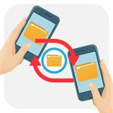 File sharing folders and documents synchronisation vector illustration. File sharing folders and documents synchronisation between smartphones. Transmission of Royalty Free Stock Photos