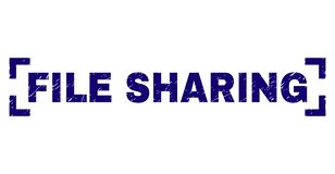 Scratched Textured FILE SHARING Stamp Seal Between Corners. FILE SHARING text seal imprint with corroded texture. Text tag is placed inside corners. Blue vector vector illustration