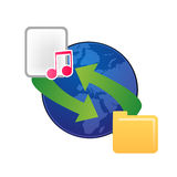 File sharing web icon vector. Vector illustration of files being shared via world wide web Royalty Free Stock Photos