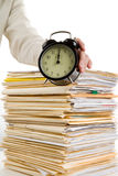 File Stack and clock Stock Photo
