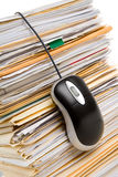 File Stack and Computer Mouse Royalty Free Stock Photos