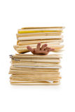 File Stack and hand Royalty Free Stock Photography