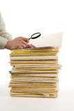 File Stack and Magnifying Glass Stock Photography