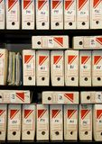 File storage. On shelves - details of an office Royalty Free Stock Image