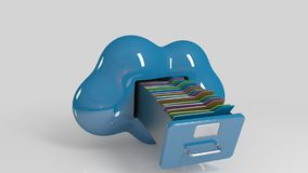 File storage in cloud. 3D computer icon. On a white stage Royalty Free Stock Photos