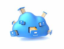 File storage in cloud. Folders with documents in the blue cloud isolated on white Royalty Free Stock Photography