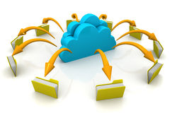File storage, sharing. In cloud computing Royalty Free Stock Photography