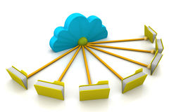 File storage, sharing. In cloud computing Stock Photo