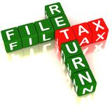 File tax return. Words file tax return in a crossword, tax in red and other words in green color on white reflective surface stock illustration