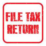 File tax return. A red rubber stamp illustration with the text 'file tax return Stock Image