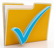 File With Tick Showing Organising And Paperwork Stock Photo
