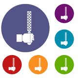 File tool in man head icons set. In flat circle red, blue and green color for web Stock Photos