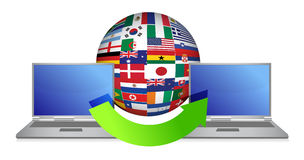 File transfer around the globe. Illustration design Royalty Free Stock Photography