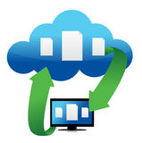 File transfer from cloud illustration. Design over white Royalty Free Stock Images