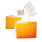 File transfer concept. Folders with files transferring between them Royalty Free Stock Photography