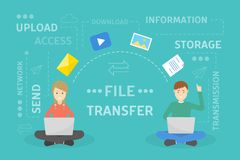 File transfer concept. Two people exchanging documents Stock Photos