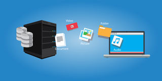 File transfer copy document and media. Symbol illustration sync Stock Image