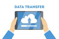 File transfer concept. File transfer between the digital devices. Copy files, exchange data and document transfer through internet. Modern technology and cloud Stock Image