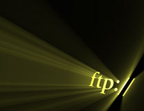 File transfer protocol ftp light halo. Ftp:// symbol indicating server url) with powerful sun light flare. Extended flares for cropping Royalty Free Stock Image