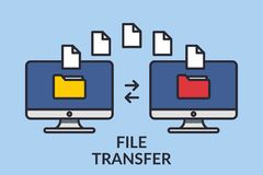 File transfer. Two computers with folders on the screen and documents sent. Copy files, exchange data, backup, transfer. PC, concept file sharing. Line graphic royalty free illustration