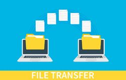 File transfer. Two laptops with folders on screen and transferred documents. Copy files, data exchange, backup, PC. Migration, file sharing concepts. Vector Royalty Free Stock Photography