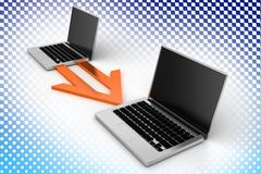 File Transferring Laptops In Halftone Background Stock Images