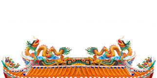File twin dragon on chinese temple roof isolated white backgroun Stock Photos